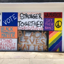 photo of painted protest signs
