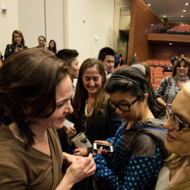 Sheryl Sandberg talks with fans