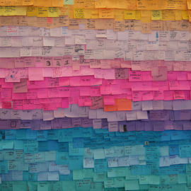 a wall of colorful post-it notes