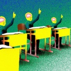 illustration of students at desks